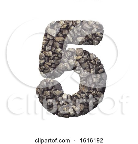 Gravel Number 5 - 3d Crushed Rock Digit - Nature, Environment,, on a white background by chrisroll