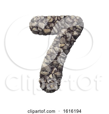 Gravel Number 7 - 3d Crushed Rock Digit - Nature, Environment,, on a white background by chrisroll