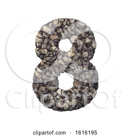 Gravel Number 8 - 3d Crushed Rock Digit - Nature, Environment,, on a white background by chrisroll