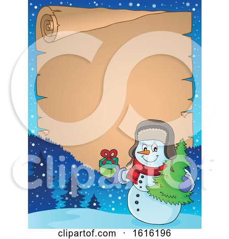 Clipart of a Border of a Christmas Snowman Carrying a Tree and Present - Royalty Free Vector Illustration by visekart