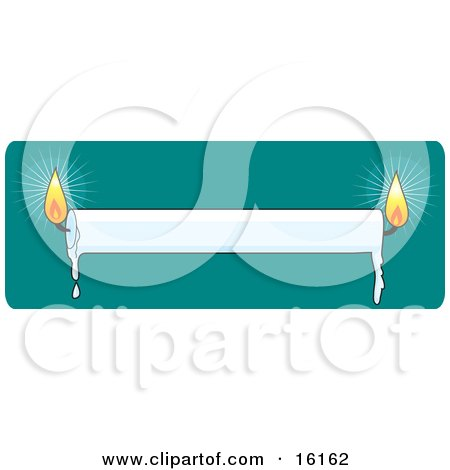 White Candle Lit At Both Ends And Melting Wax Dripping Clipart Illustration Image by Maria Bell
