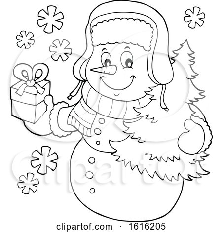 Clipart of a Lineart Christmas Snowman Carrying a Tree and Present - Royalty Free Vector Illustration by visekart