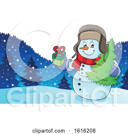 Clipart of a Christmas Snowman Carrying a Tree and Gift - Royalty Free Vector Illustration by visekart