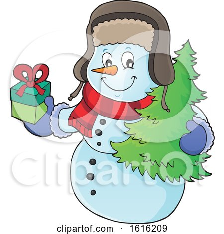 Clipart of a Christmas Snowman Carrying a Tree and Present - Royalty Free Vector Illustration by visekart