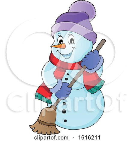 Clipart of a Happy Snowman Sweeping - Royalty Free Vector Illustration by visekart