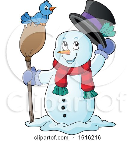 Clipart of a Snowman Tipping His Hat and Standing with a Blue Bird on a Broom - Royalty Free Vector Illustration by visekart