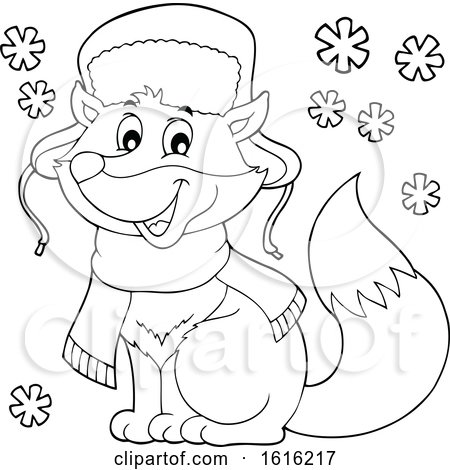 Clipart of a Lineart Cute Fox Wearing a Winter Hat and Scarf - Royalty Free Vector Illustration by visekart