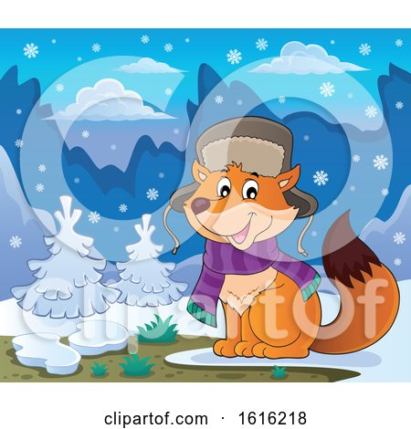 Clipart of a Cute Fox Wearing a Winter Hat and Scarf in the Snow - Royalty Free Vector Illustration by visekart