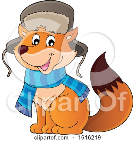 Clipart of a Cute Fox Wearing a Winter Hat and Scarf - Royalty Free Vector Illustration by visekart