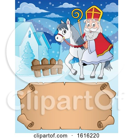Clipart of a Horseback Saint Nicholas over a Scroll - Royalty Free Vector Illustration by visekart
