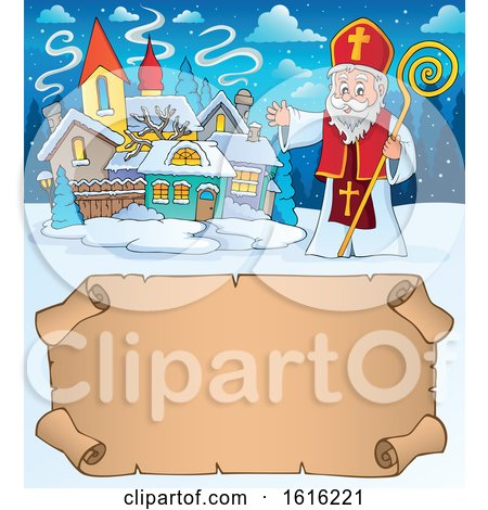 Clipart of a Waving Saint Nicholas over a Scroll - Royalty Free Vector Illustration by visekart
