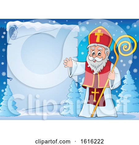Clipart of a Parchment Scroll and Waving Saint Nicholas - Royalty Free Vector Illustration by visekart