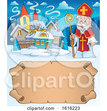 Clipart of a Parchment Scroll and Saint Nicholas - Royalty Free Vector Illustration by visekart