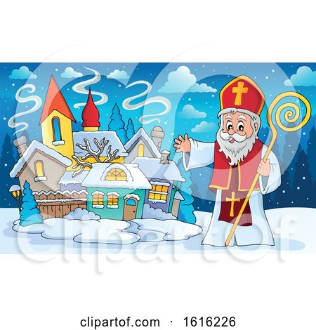 Clipart of a Waving Saint Nicholas - Royalty Free Vector Illustration by visekart