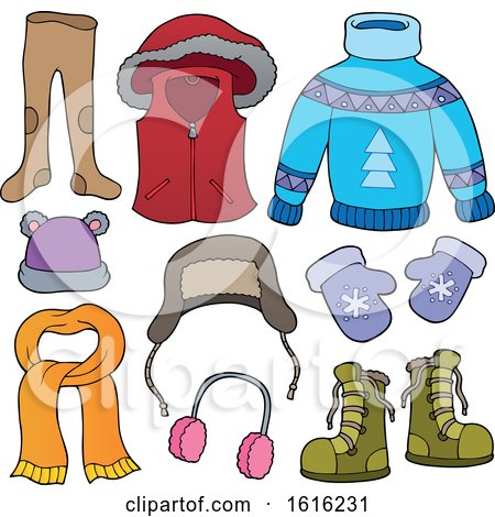 Clipart of Winter Clothes and Accessories - Royalty Free Vector Illustration by visekart
