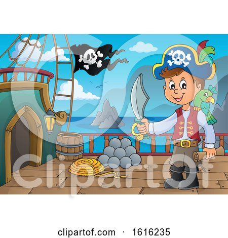 Clipart of a Pirate Boy on a Ship Deck - Royalty Free Vector Illustration by visekart