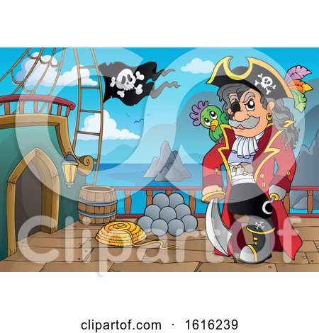 Clipart of a Pirate Captain on a Ship Deck - Royalty Free Vector Illustration by visekart