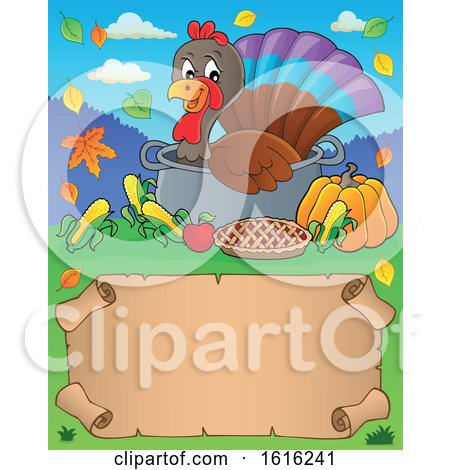 Clipart of a Border of a Turkey Bird in a Pot - Royalty Free Vector Illustration by visekart