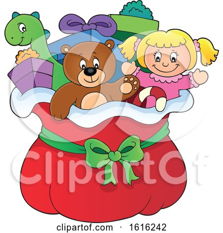 Clipart of a Doll Teddy Bear Toys and Gifts in Santas Christmas Sack - Royalty Free Vector Illustration by visekart
