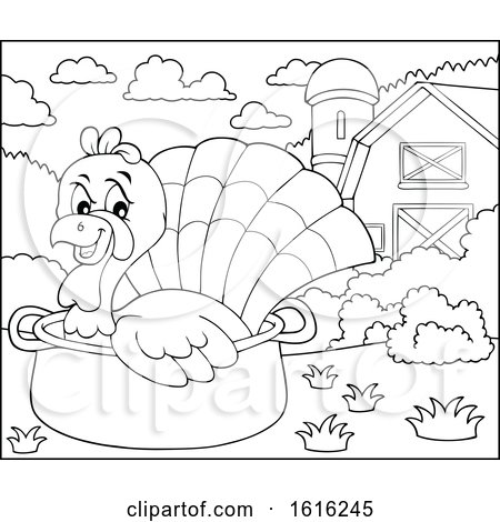 Clipart of a Black and White Turkey Bird in a Pot - Royalty Free Vector Illustration by visekart