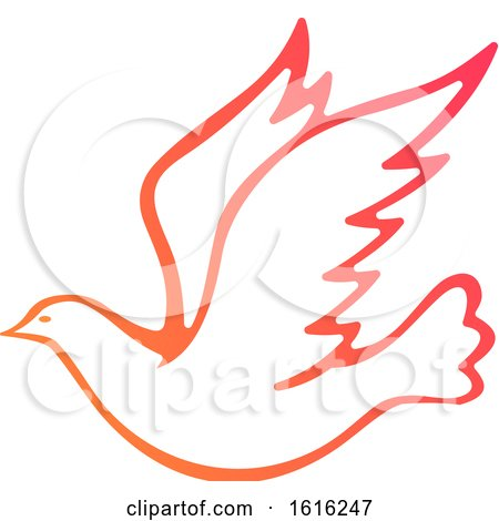Clipart of a Gradient Flying Dove - Royalty Free Vector Illustration by Vector Tradition SM