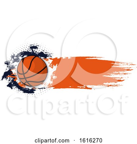 Clipart of a Grungy Basketball Design - Royalty Free Vector Illustration by Vector Tradition SM