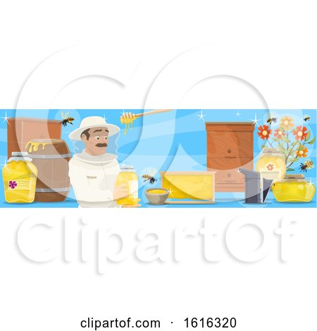 Clipart of a Beekeeper Banner - Royalty Free Vector Illustration by Vector Tradition SM