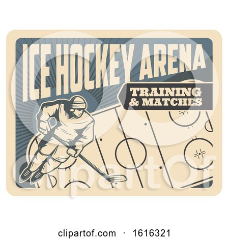 Clipart of a Retro Ice Hockey Arena Design - Royalty Free Vector Illustration by Vector Tradition SM