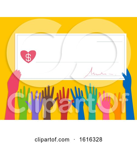 Hands Cheque Donate Illustration by BNP Design Studio