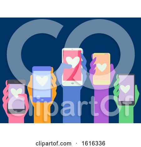 Hands Cellphone Concern Citizens Illustration by BNP Design Studio