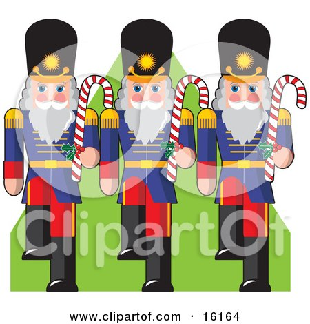 Three Toy Soldiers Marching Down A Green Carpet And Carrying Candycanes Clipart Illustration Image