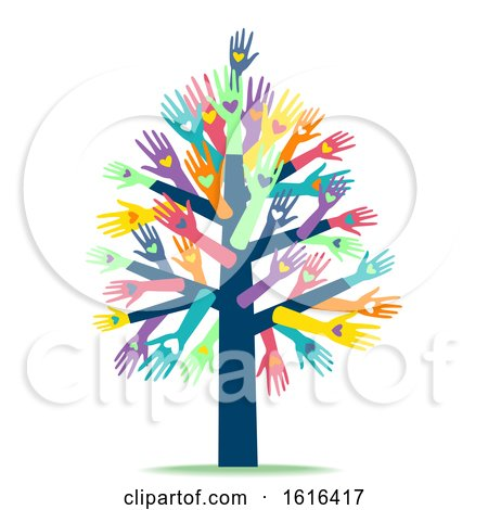 Hands Heart Tree Charity Organization Illustration by BNP Design Studio