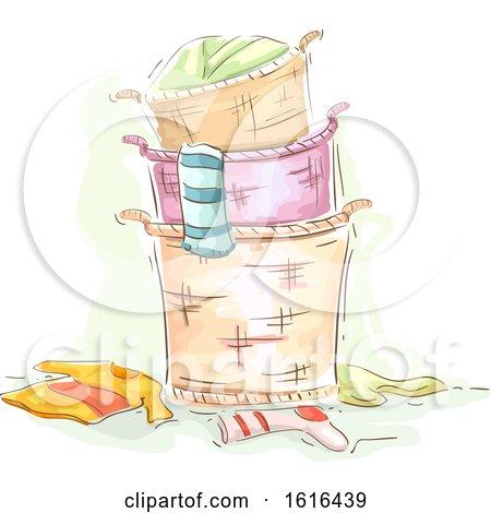 Laundry Basket Stack Illustration by BNP Design Studio