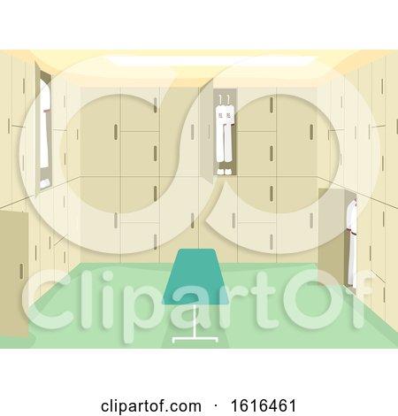 School Changing Room Interior Illustration by BNP Design Studio