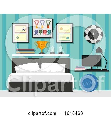 Sporty Bedroom Interior Illustration by BNP Design Studio