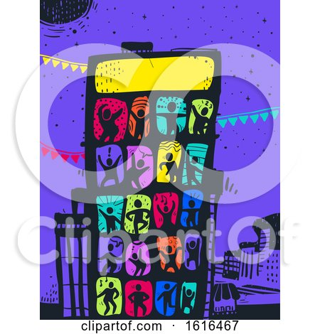 Colored People Building Party Illustration by BNP Design Studio