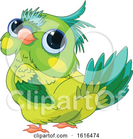 Clipart of a Cute Green Parrot Looking Back - Royalty Free Vector Illustration by Pushkin