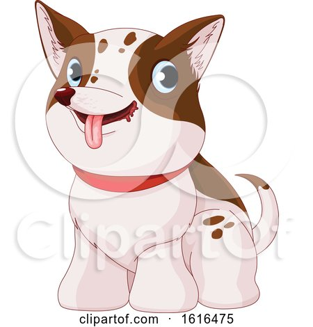 Clipart of a Cute White and Brown Puppy Dog - Royalty Free Vector Illustration by Pushkin