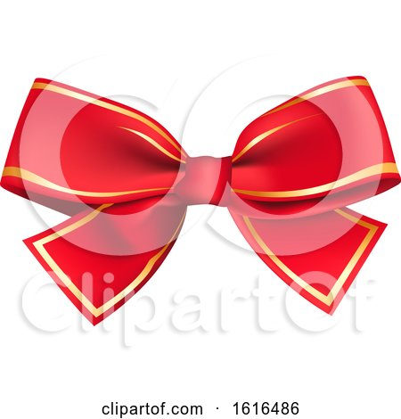 Clipart of a Christmas Gift Bow - Royalty Free Vector Illustration by dero