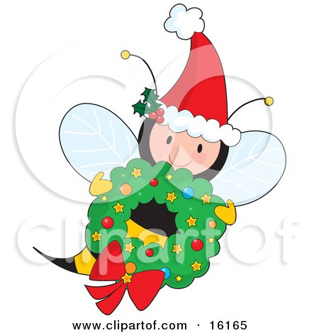 Cute Female Honey Bee Wearing A Santa Hat With Ivy And Flying With A Christmas Wreath Clipart Illustration Image by Maria Bell