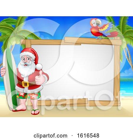 Santa Claus Surf Beach Christmas Background Sign by AtStockIllustration