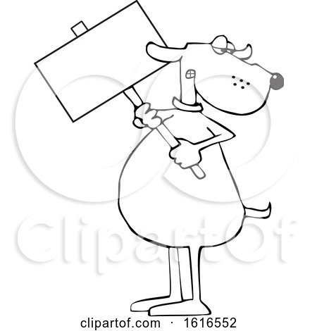 Clipart of a Cartoon Lineart Dog Holding a Blank Sign - Royalty Free Vector Illustration by djart