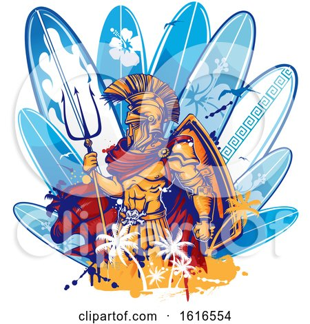 Clipart of a Poseidon and Surfboard Design - Royalty Free Vector Illustration by Domenico Condello