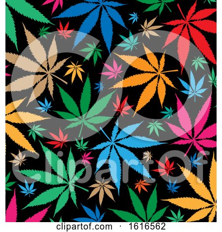Clipart of a Colorful Cannabis Marijuana Pot Leaf Background - Royalty Free Vector Illustration by Domenico Condello