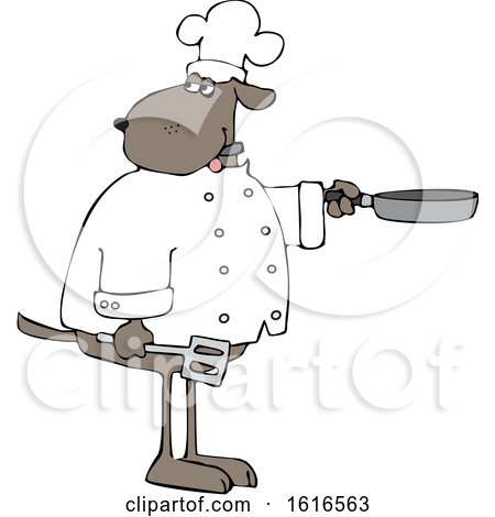 Clipart of a Cartoon Dog Chef Holding a Spatula and Frying Pan - Royalty Free Vector Illustration by djart