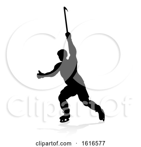 Silhouette Ice Hockey Player by AtStockIllustration
