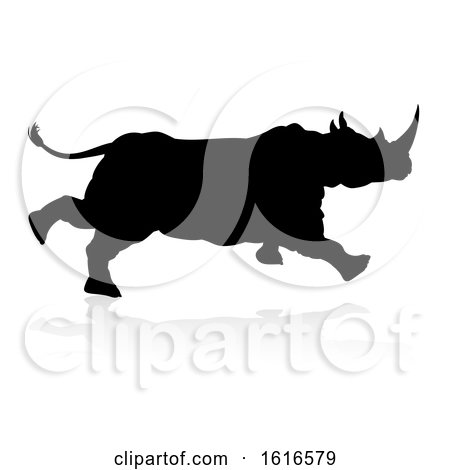 Rhino Animal Silhouette by AtStockIllustration