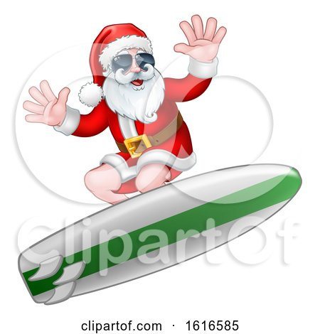 Christmas Santa Claus Surfing and Wearing Sunglasses by AtStockIllustration