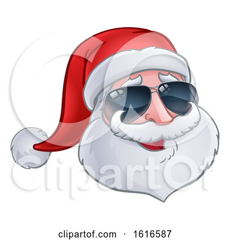 Christmas Santa Claus Wearing Sunglasses by AtStockIllustration