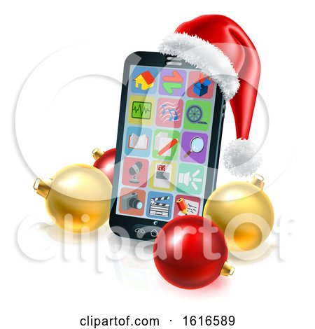 3d Smart Cell Phone with a Santa Hat and Christmas Baubles by AtStockIllustration